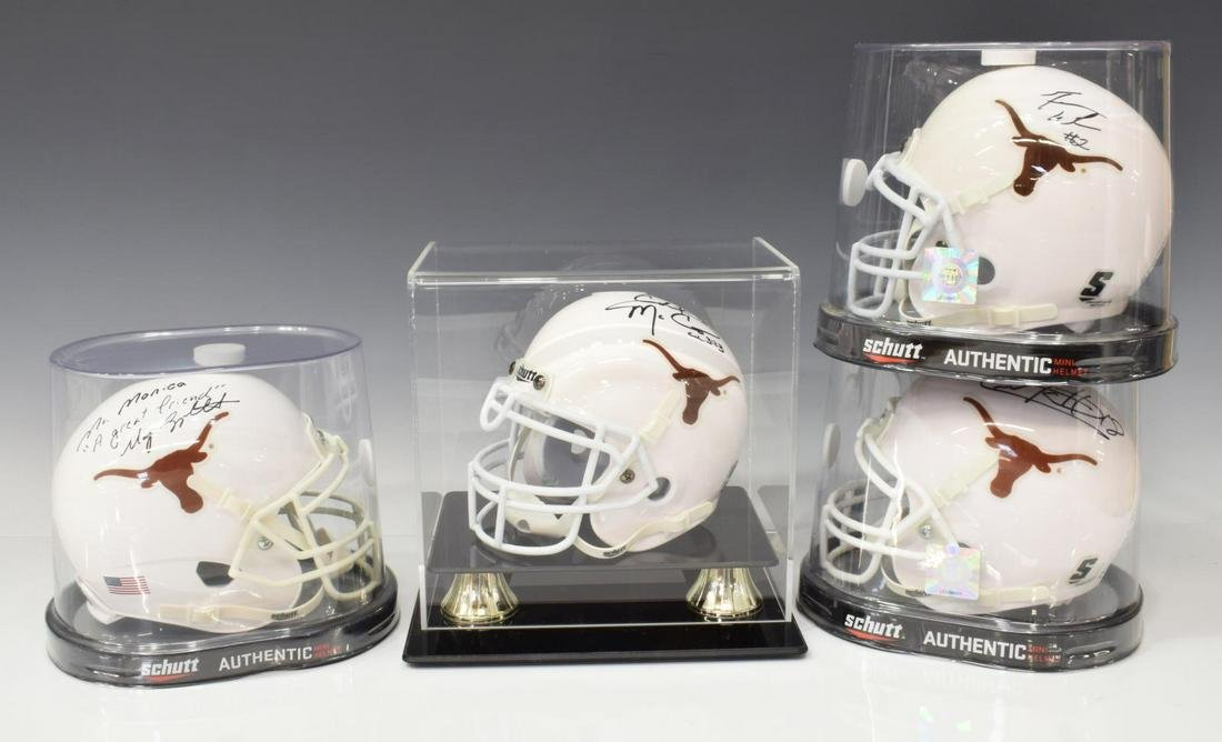 (4)TEXAS SIGNED MINI HELMETS McCOY, ACHO, APPLEWHI