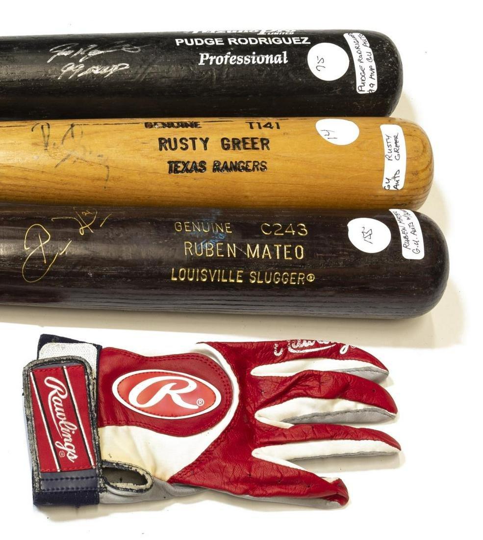 (3)AUTOGRAPHED BALL BATS GREER, MATEO, RODRIGUEZ
