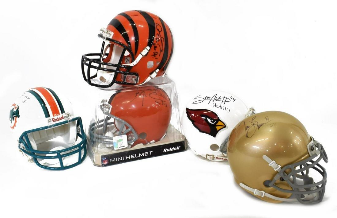 (5)NFL TEXAS PLAYERS MINI FOOTBALL HELMETS, SIGNED