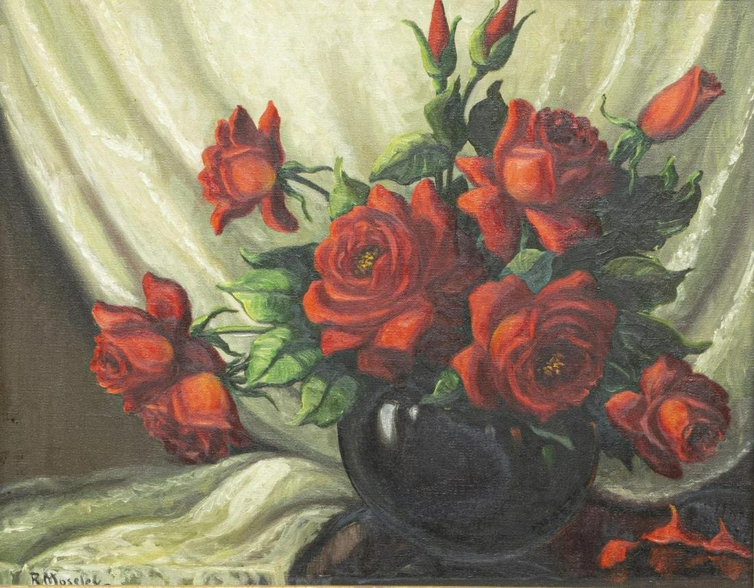 R. MOSELEY (TX, 20TH C.) STILL LIFE W/ RED ROSES