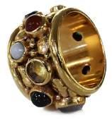 ESTATE THICK 14KT GOLD MULTI-GEMSTONE RING BAND