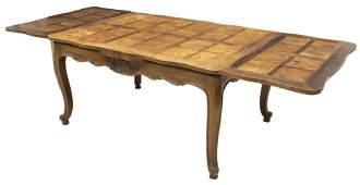 FRENCH LOUIS XV STYLE WALNUT DRAW LEAF TABLE