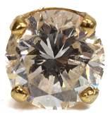 1 ESTATE APPROX 1CT SINGLE DIAMOND EARRING