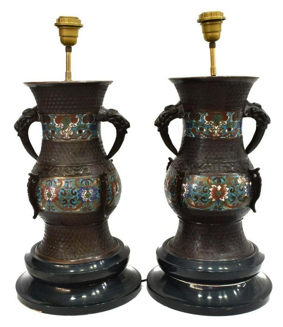 (2) CHINESE CLOISONNE ENAMELED VASE TABLE LAMPS