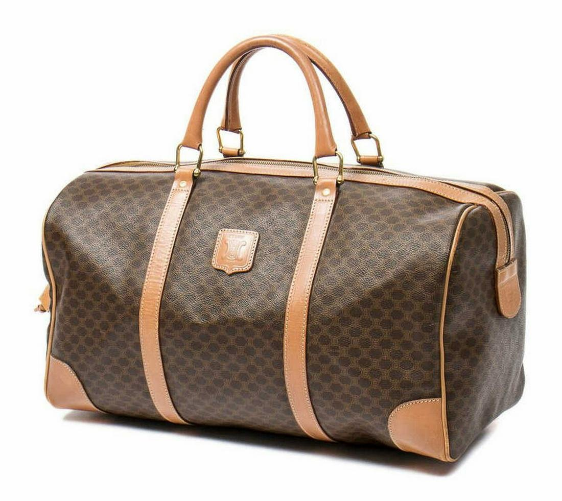 CELINE 'WEEKENDER' MACADAM CANVAS TRAVEL BAG