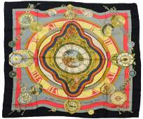 HERMES SILK TWILL SCARF, 'LE RONDE DES HEURES'