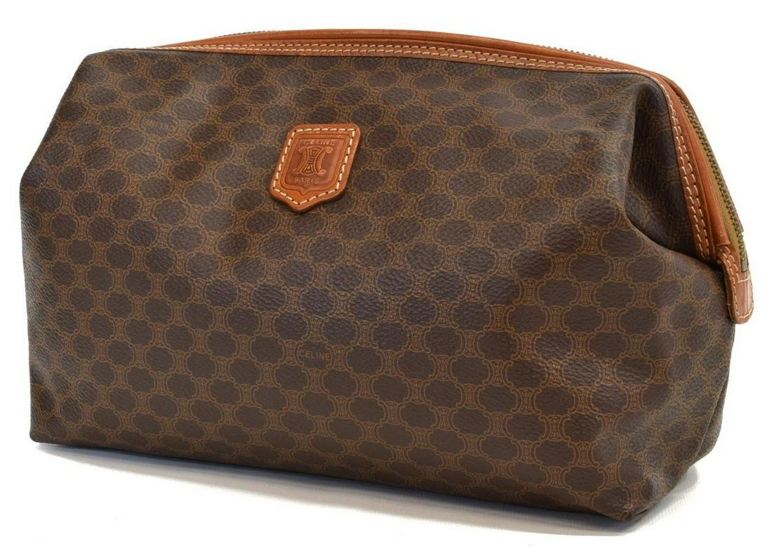 CELINE MACADAM CANVAS TOILETRY & COSMETIC POUCH