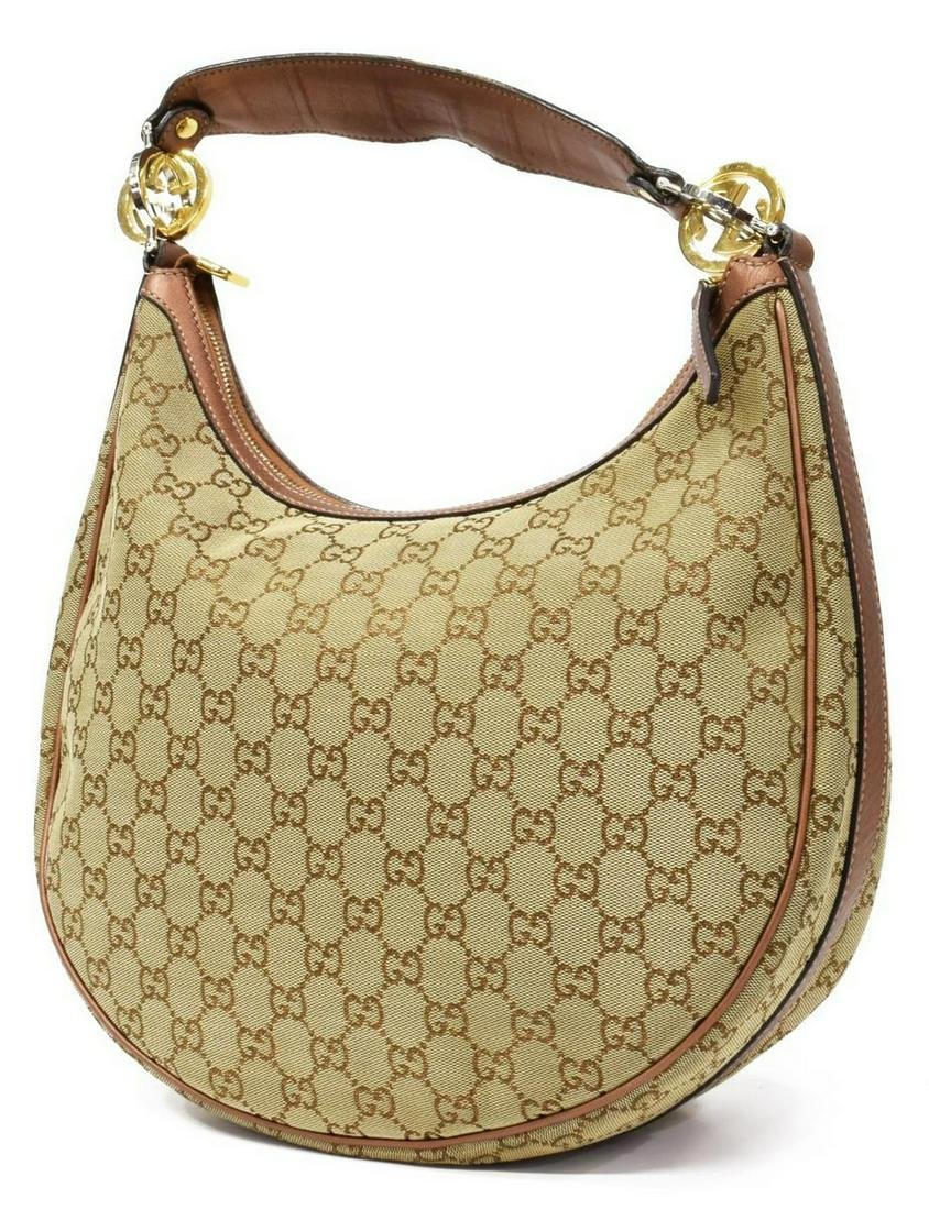 GUCCI 'TWIN' MONOGRAM CANVAS HOBO BAG
