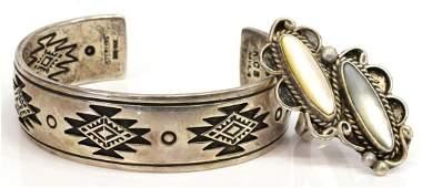 2 NATIVE AMERICAN SILVER CUFF BRACELET  RING