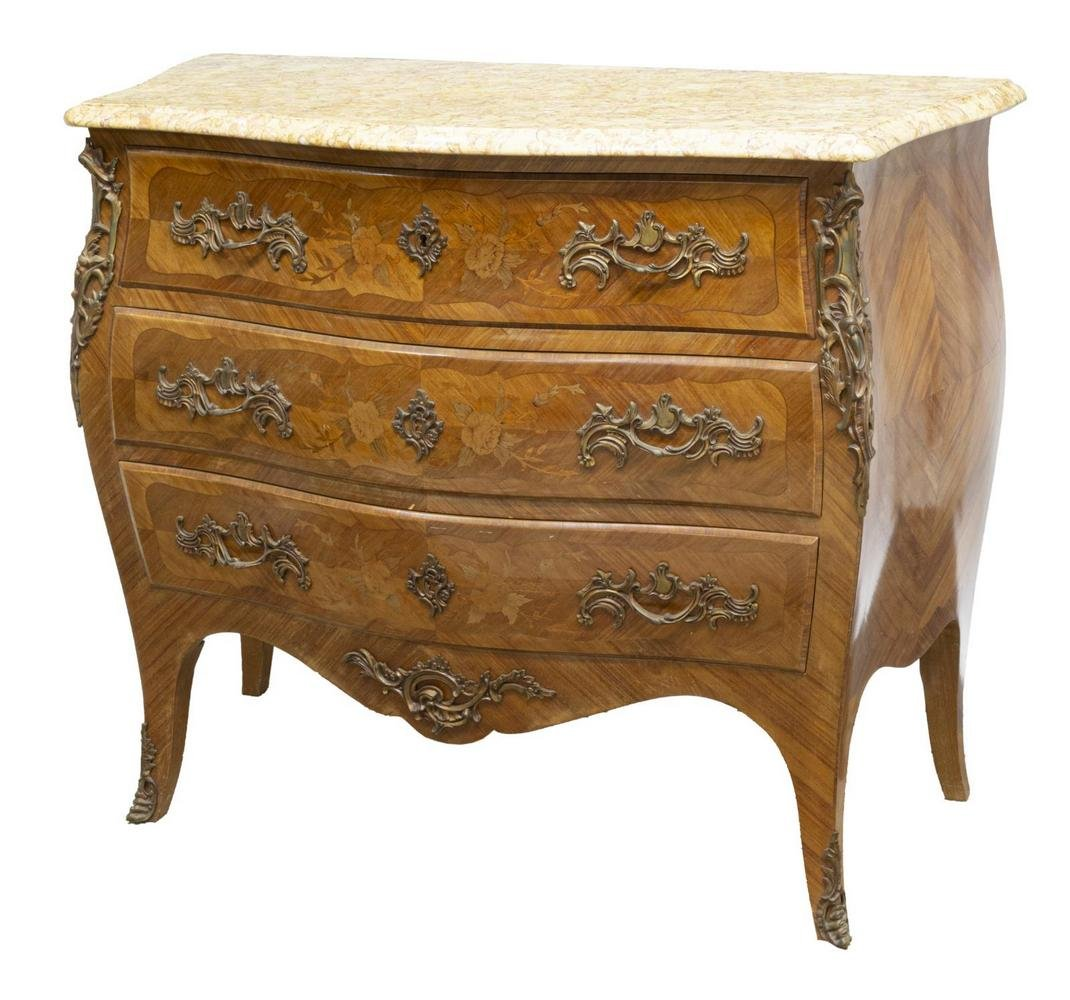 LOUIS XV STYLE MARBLE-TOP BOMBE MARQUETRY COMMODE