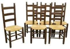 (6) FRENCH PROVINCIAL LADDER BACK RUSH SEAT CHAIRS