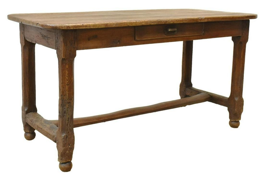 "RUSTIC FRENCH MIXED WOOD FARMHOUSE TABLE, 59""L"