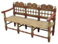 SPANISH ANDALUSIAN POLYCHROME PAINTED BENCH