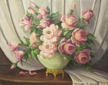 R. MOSELEY (TX) PAINTING STILL LIFE W/ PINK ROSES
