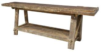 RUSTIC CRAFTSMAN'S WOOD WORKBENCH TABLE