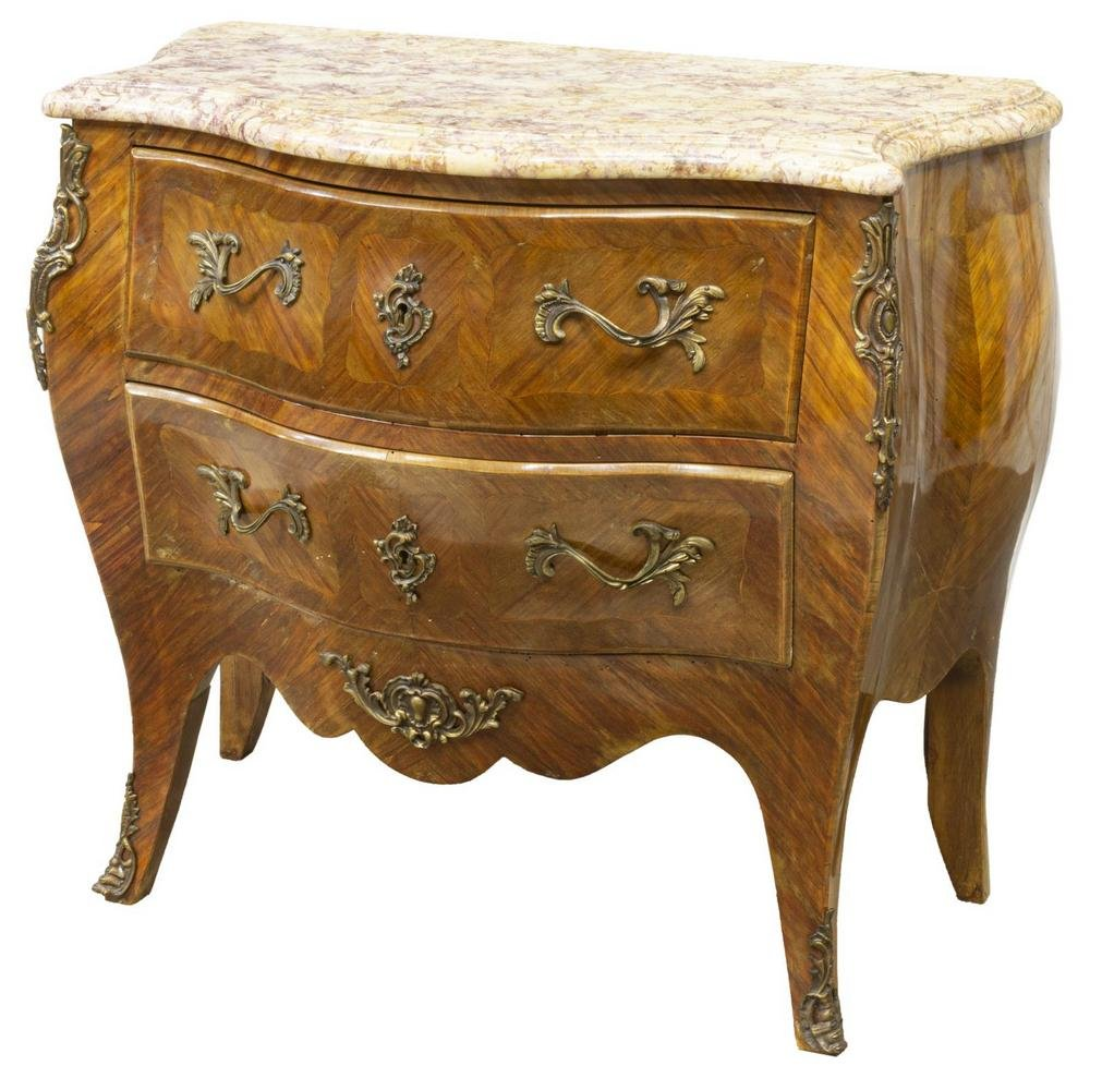 FRENCH LOUIS XV STYLE MARBLE-TOP MAHOGANY COMMODE