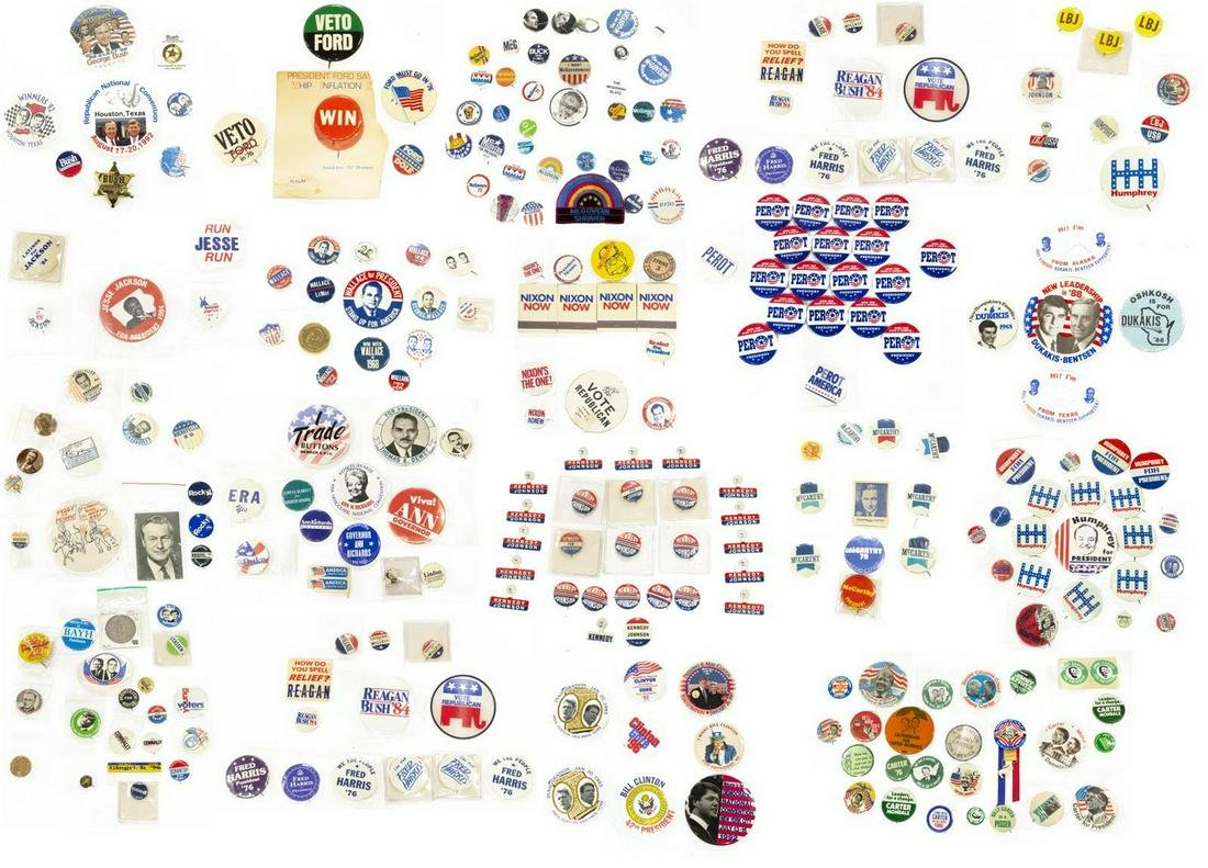 (200+) HUGE VARIETY OF MODERN CAMPAIGN BUTTONS