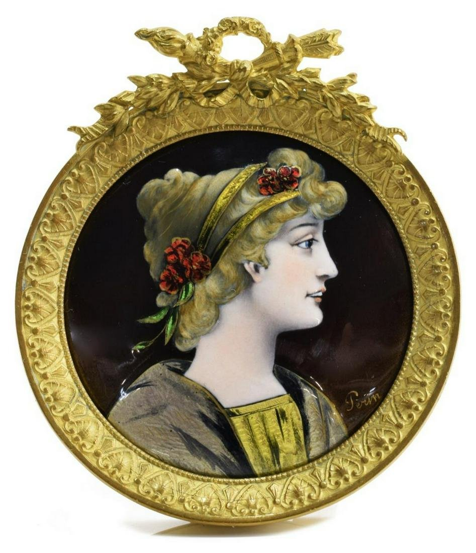 FRENCH LIMOGES STYLE ENAMEL MINIATURE AFTER PERIN