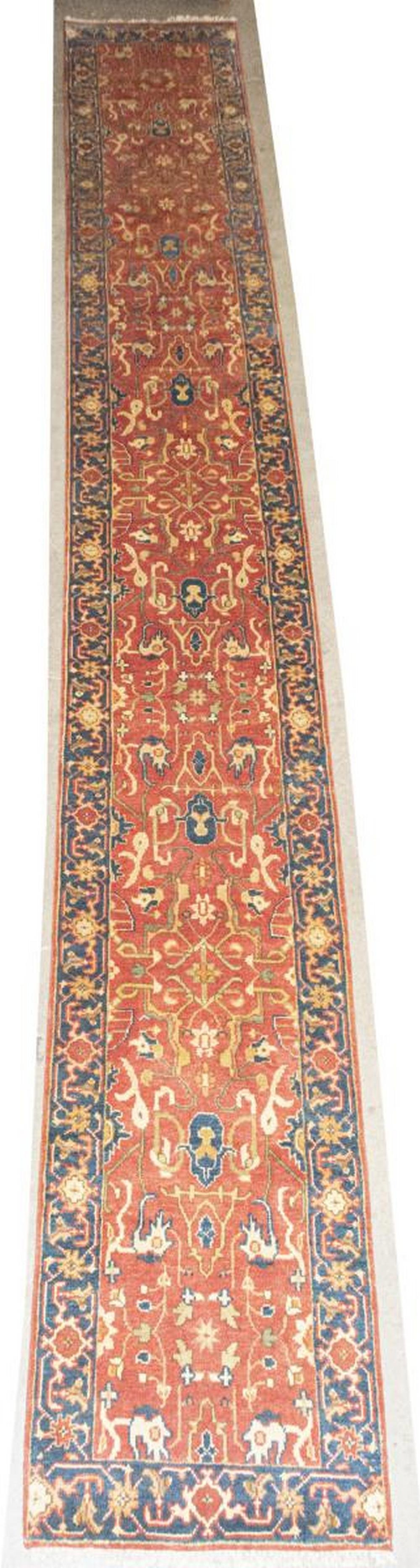 "HAND-TIED PERSIAN MAHAL FLOOR RUNNER, 19'7"" X 2'7"""