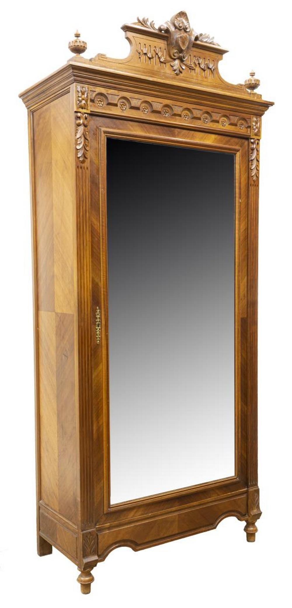 FRENCH HENRI II STYLE WALNUT MIRRORED ARMOIRE