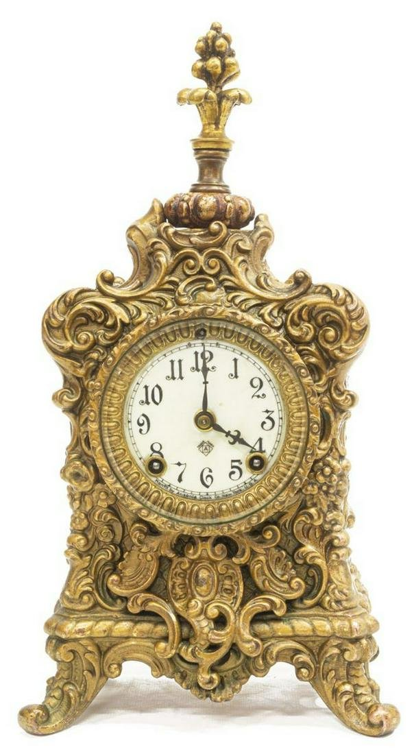 ANSONIA CLOCK CO. GILT METAL ROCAILLE SHELF CLOCK
