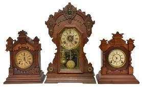 (3) AMERICAN GINGERBREAD KITCHEN SHELF CLOCKS