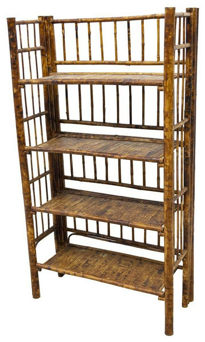 ENGLISH COLLAPSIBLE BAMBOO BOOK KNICK KNACK SHELF