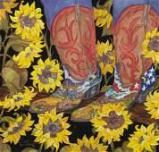 KATHY VAN TILBURG (TX, 20TH C.) BOOTS & SUNFLOWERS