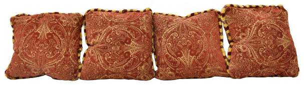 (4) DECORATIVE RED & GOLD UPHOLSTERY THROW PILLOWS