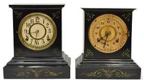 (2) ANSONIA CLOCK CO CAST IRON MANTEL SHELF CLOCKS