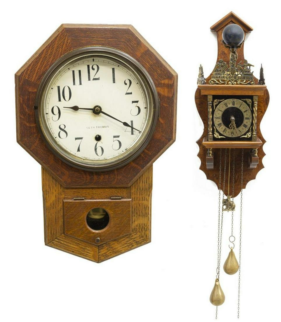 (2) DUTCH ZAANDAM STYLE CLOCK & SETH THOMAS OAK