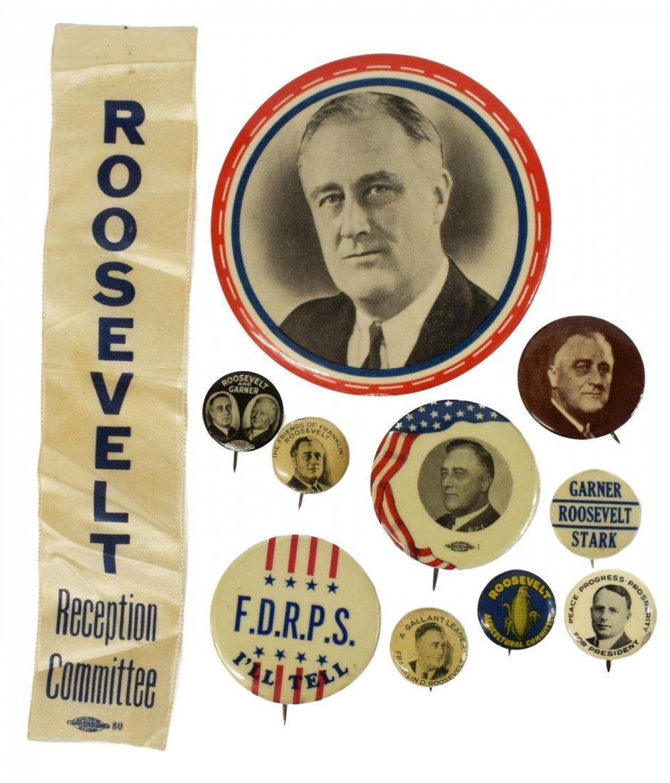 (11) CAMPAIGN PINS ROOSEVELT, GARNER, COX