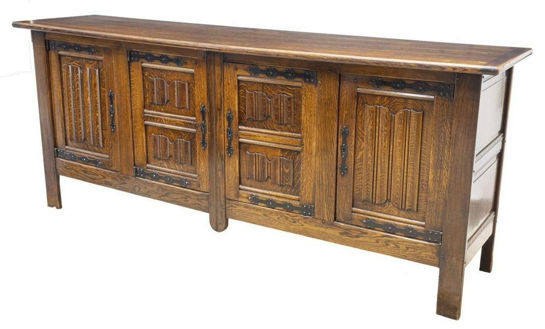FRENCH GOTHIC STYLE CARVED OAK SIDEBOARD