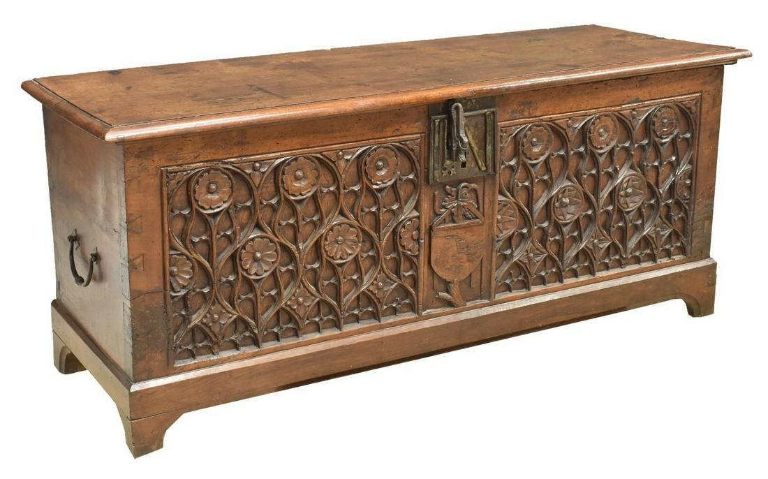 FRENCH GOTHIC REVIVAL CARVED WALNUT CHEST TRUNK
