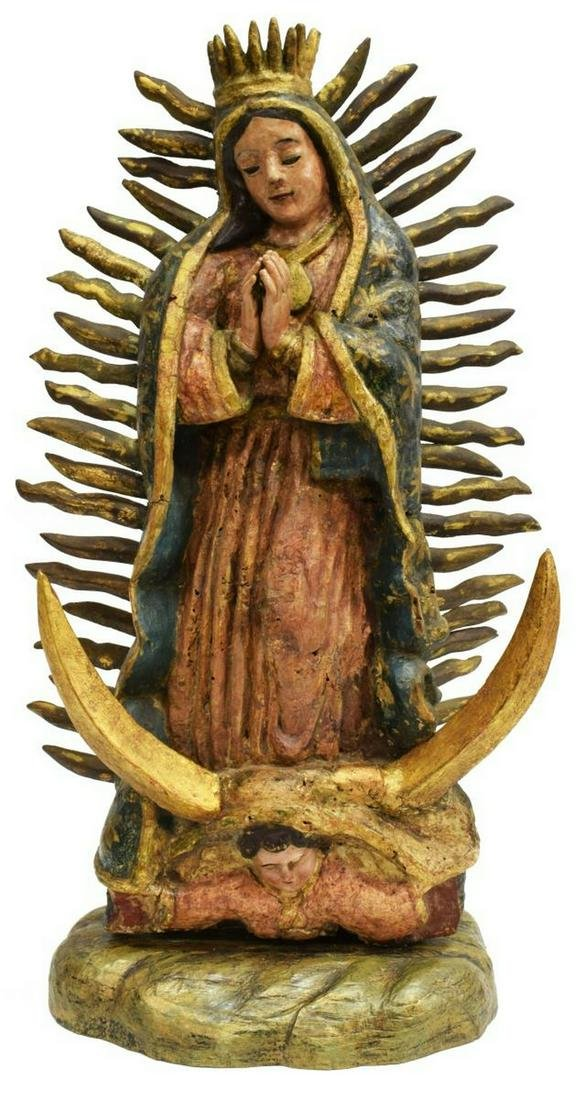 CARVED & PAINTED OUR LADY OF GUADALUPE STATUE