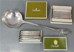 11) CHRISTOFLE SILVER PLATE LADLE & PATE SPREADERS