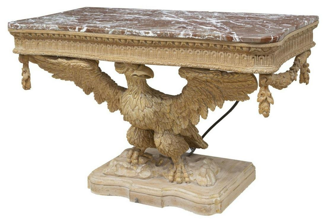 GEORGIAN STYLE MARBLE-TOP CARVED EAGLE CONSOLE