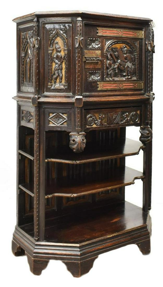 FRENCH GOTHIC REVIVAL CARVED OAK CABINET