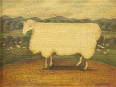MARY BETH BAXTER (D.2011) FOLK ART SHEEP PAINTING