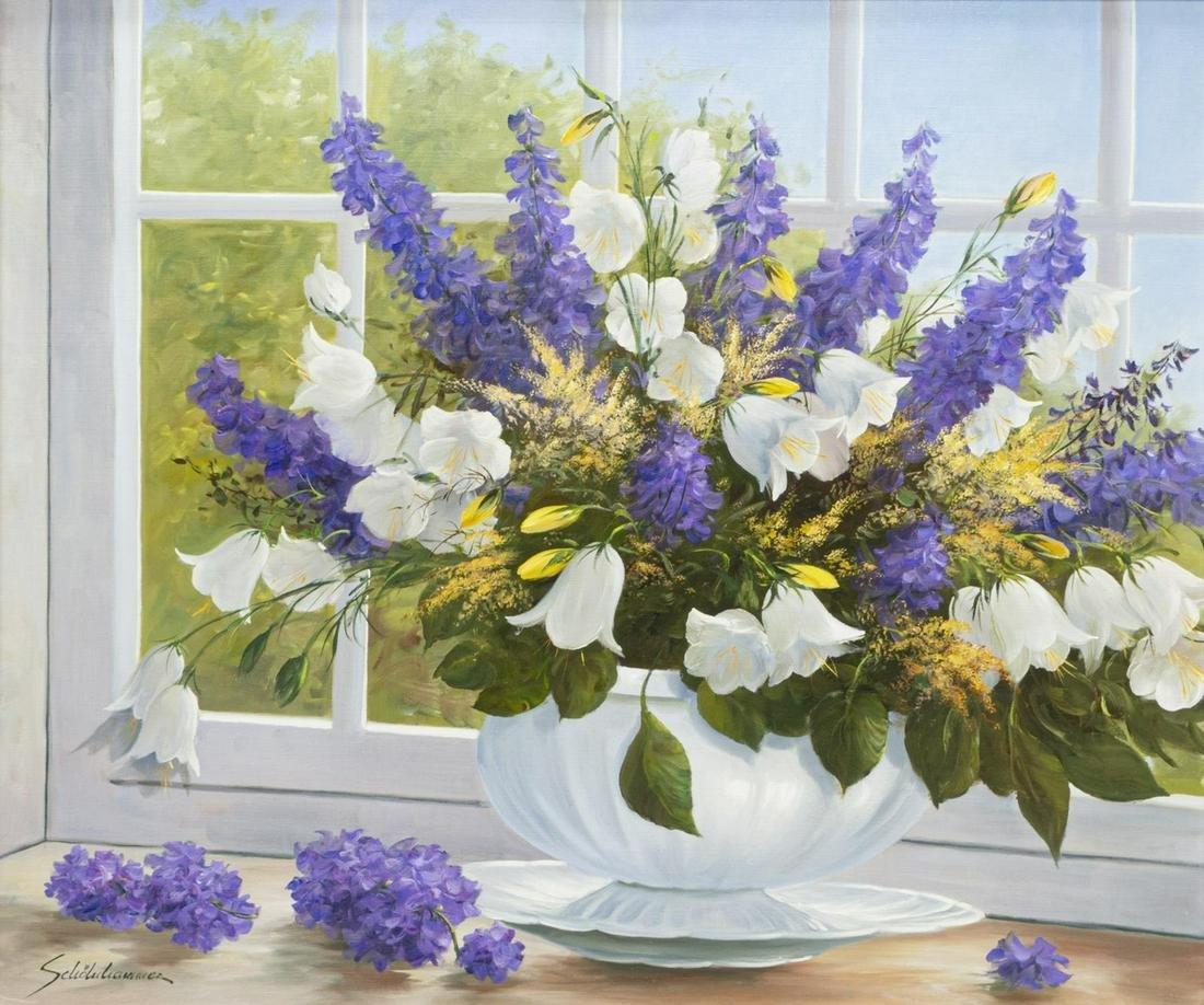HEINZ SCHOLNHAMMER (B.1940) STILL LIFE W/ FLOWERS