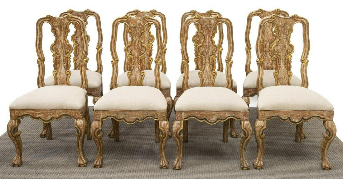 (8) BAROQUE STYLE PARCEL GILT DINING CHAIRS