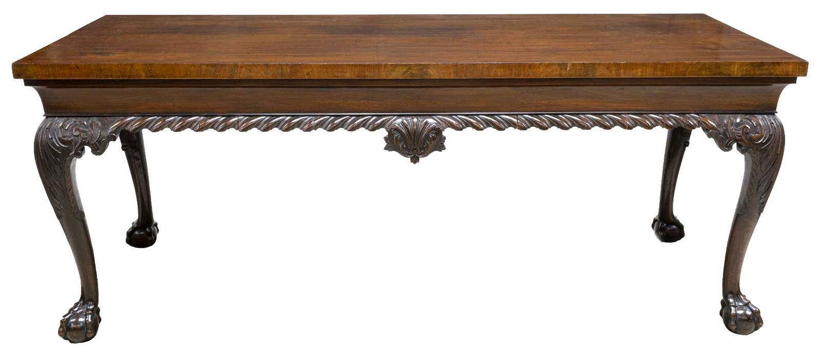 LARGE IRISH GEORGIAN CHIPPENDALE STYLE CONSOLE TABLE
