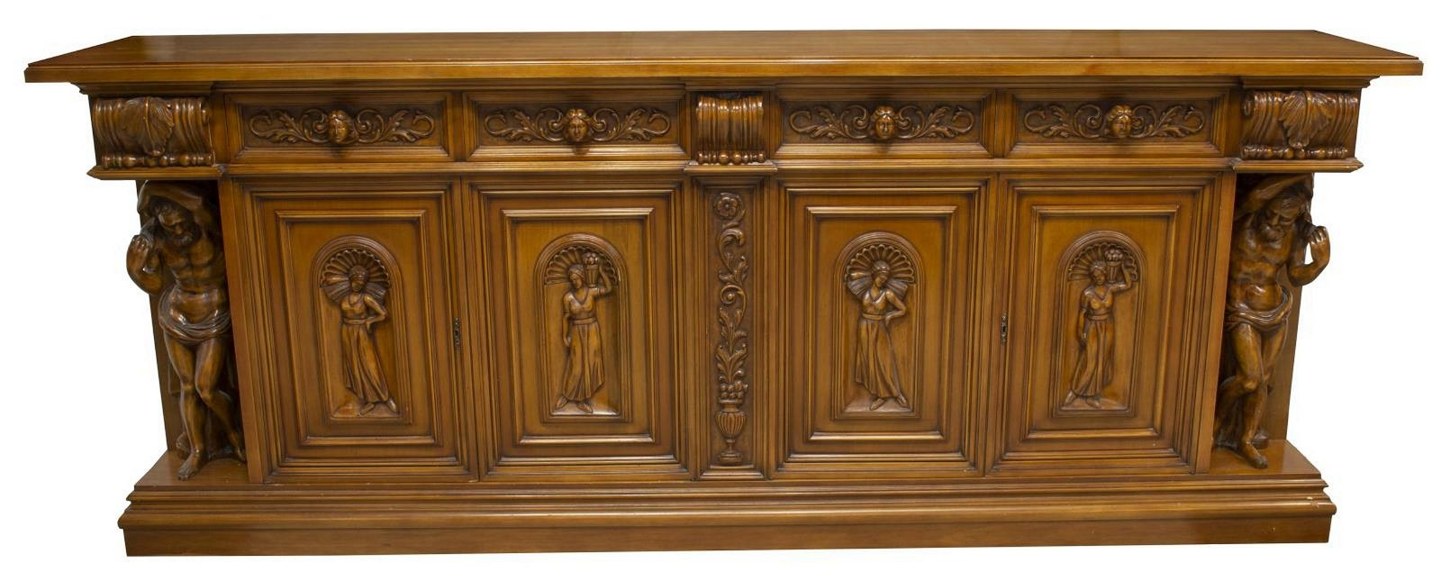 ITALIAN FIGURAL CARVED SIDEBOARD