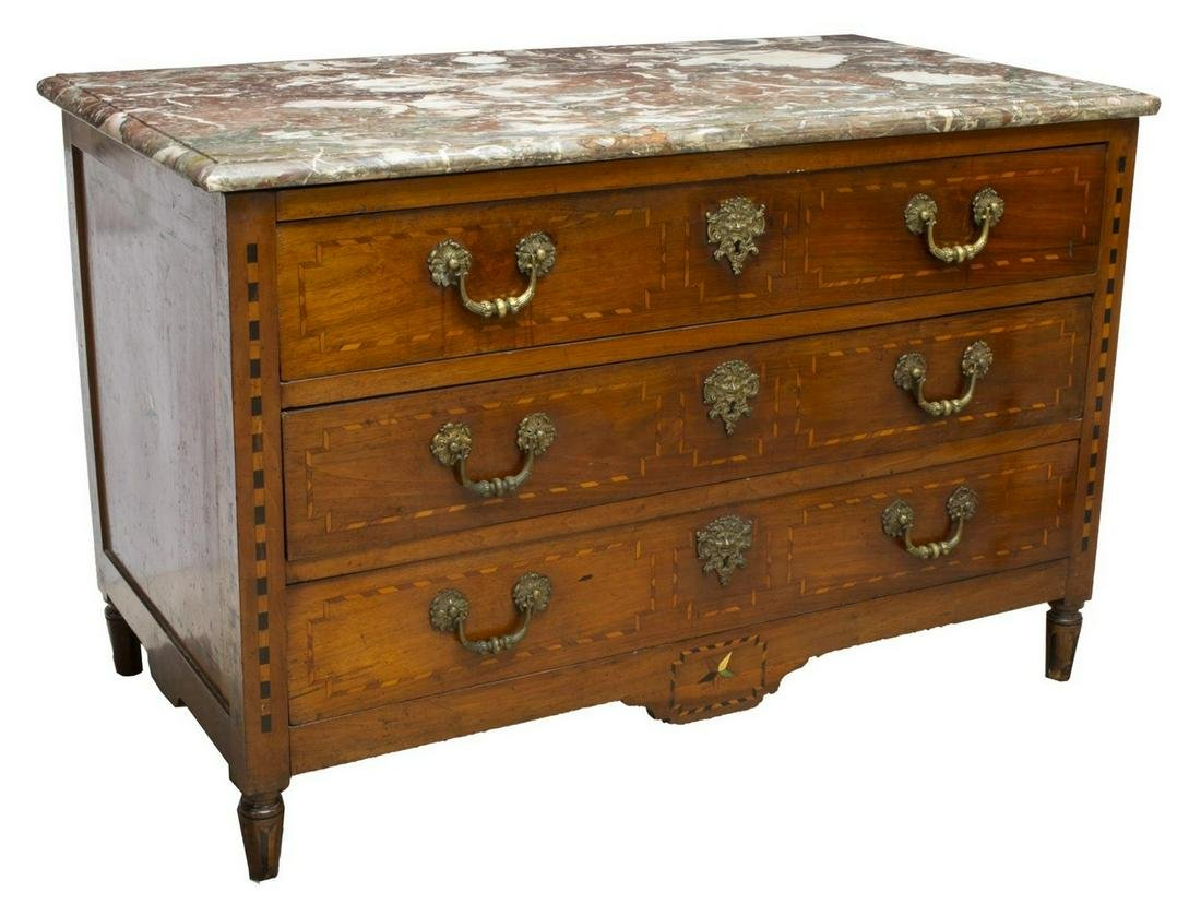 FRENCH LOUIS XVI MARBLE-TOP INLAID COMMMODE