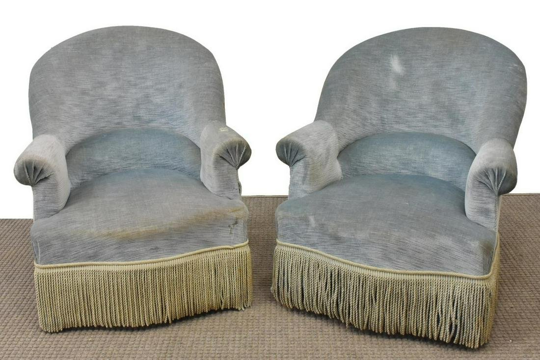 (2) FRENCH NAPOLEON III STYLE SLIPPER CHAIRS
