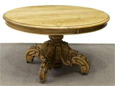 ANTIQUE CARVED OAK BOARS HEAD HUNT TABLE