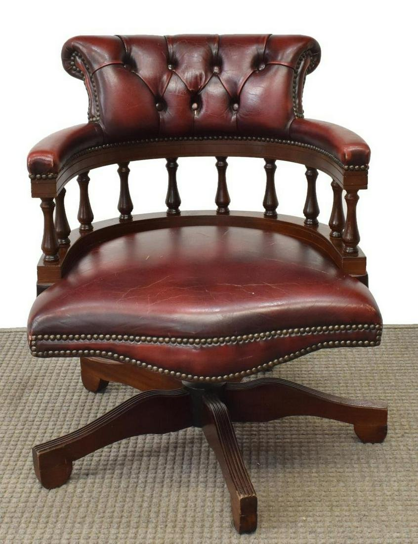 ENGLISH BUTTONED LEATHER SWIVEL ARMCHAIR