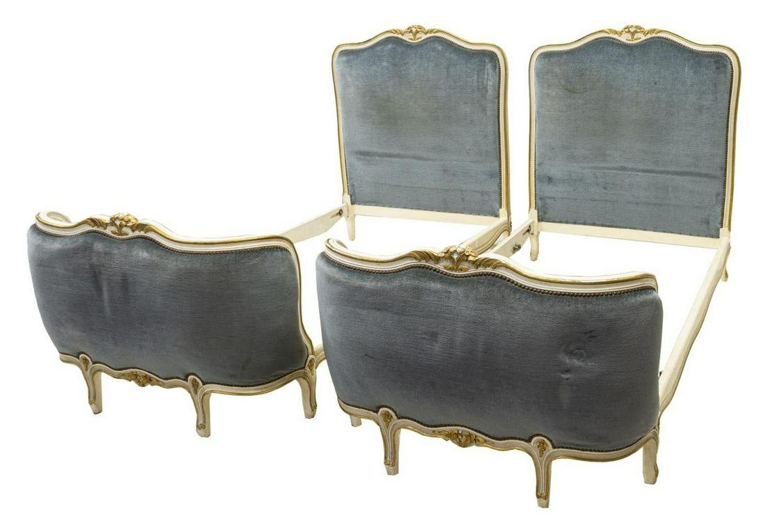 (pr) FRENCH LOUIS XV STYLE UPHOLSTERED BEDS