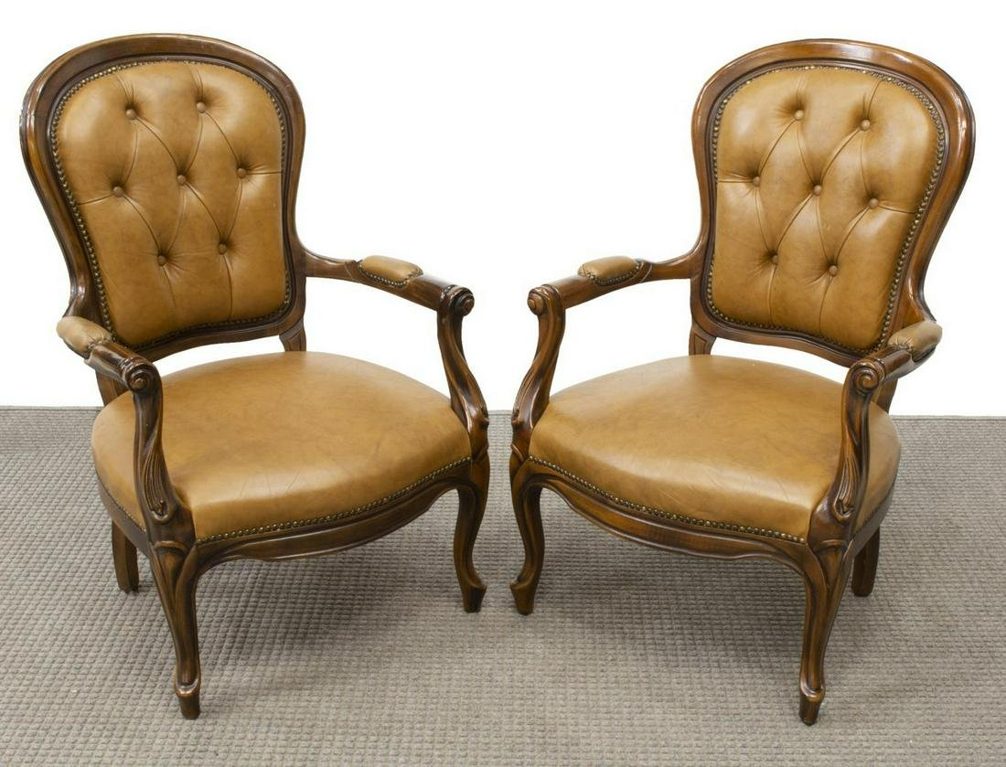 (2) FRENCH LOUIS XV STYLE UPHOLSTERED ARMCHAIRS