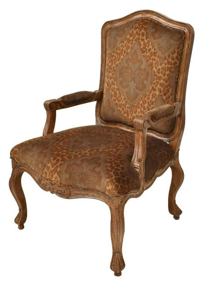 LOUIS XV STYLE UPHOLSTERED FAUTEUIL ARMCHAIR